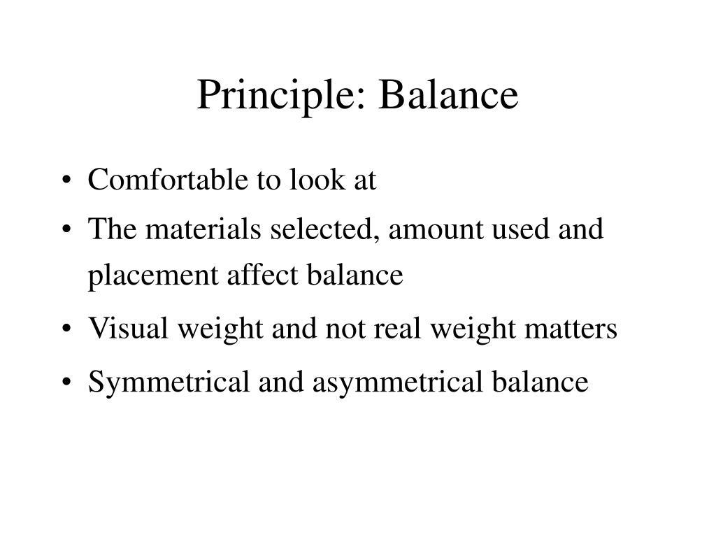 Principle: Balance