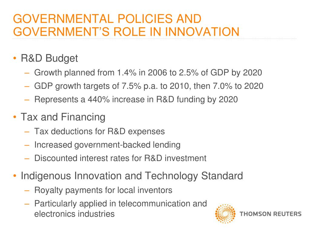 GOVERNMENTAL POLICIES AND GOVERNMENT'S ROLE IN INNOVATION
