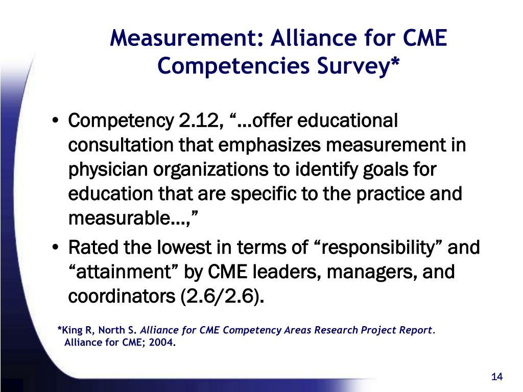 Measurement: Alliance for CME  Competencies Survey*