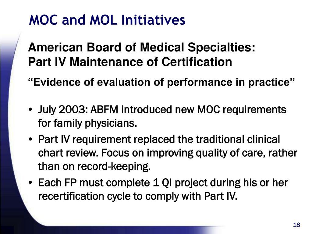 MOC and MOL Initiatives