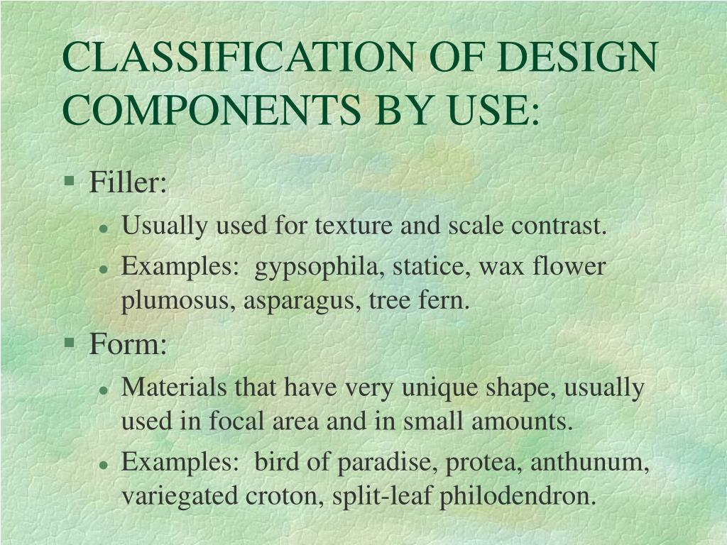 CLASSIFICATION OF DESIGN COMPONENTS BY USE: