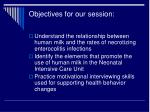 objectives for our session