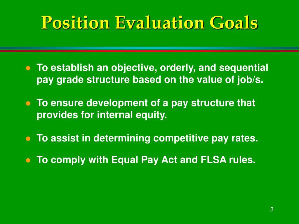 Position Evaluation Goals