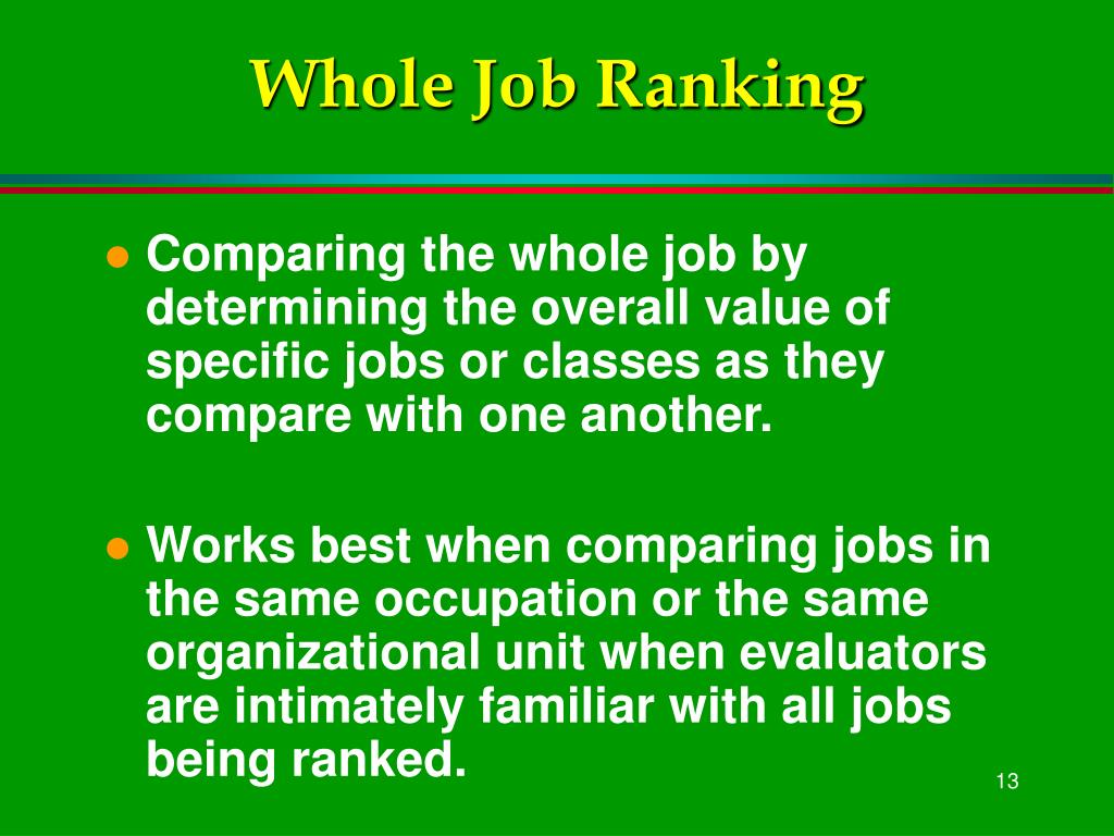 Whole Job Ranking