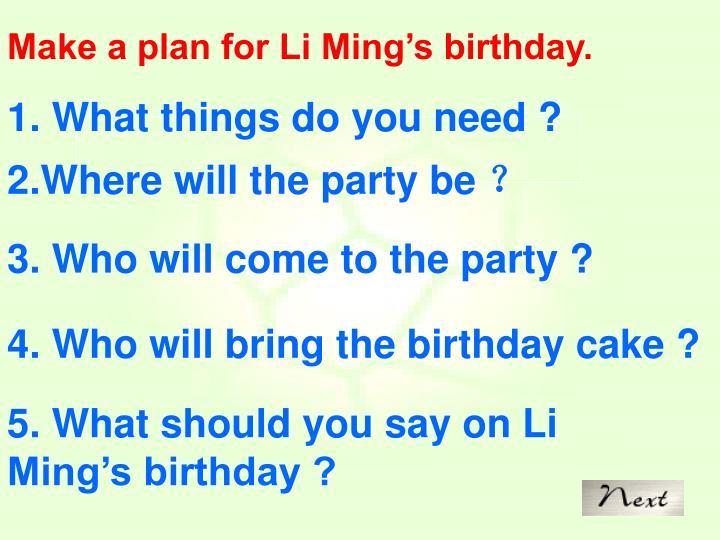 Make a plan for Li Ming's birthday.
