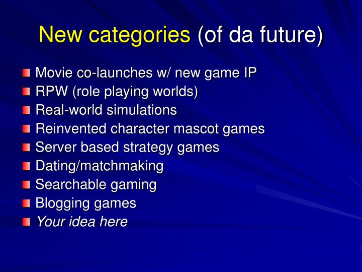New categories
