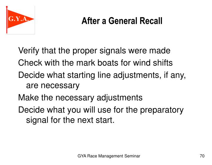 After a General Recall