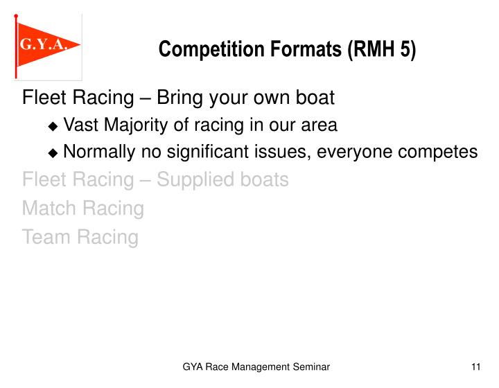 Competition Formats (RMH 5)