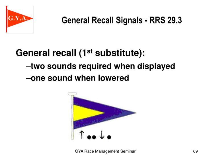 General Recall Signals - RRS 29.3
