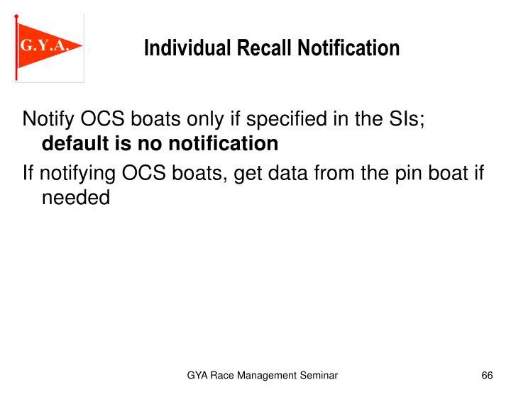 Individual Recall Notification