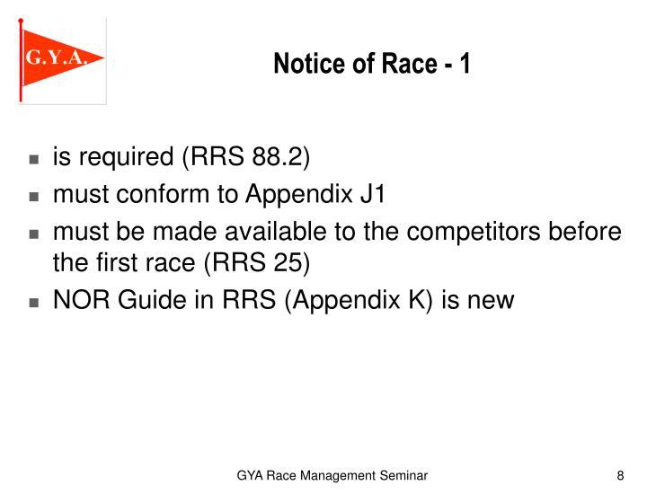 Notice of Race - 1