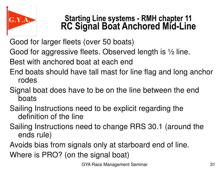 Starting Line systems - RMH chapter 11