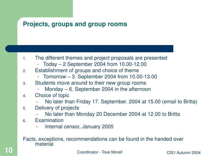 Projects, groups and group rooms