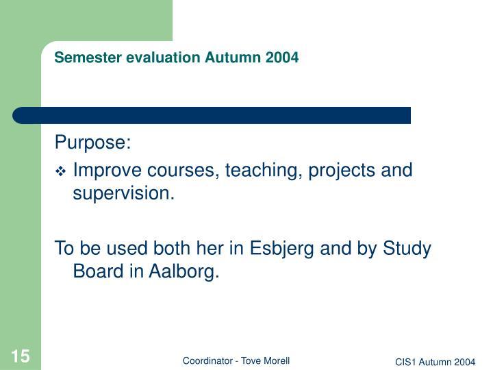 Semester evaluation Autumn 2004