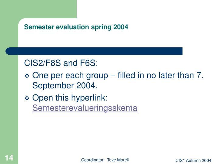 Semester evaluation spring 2004
