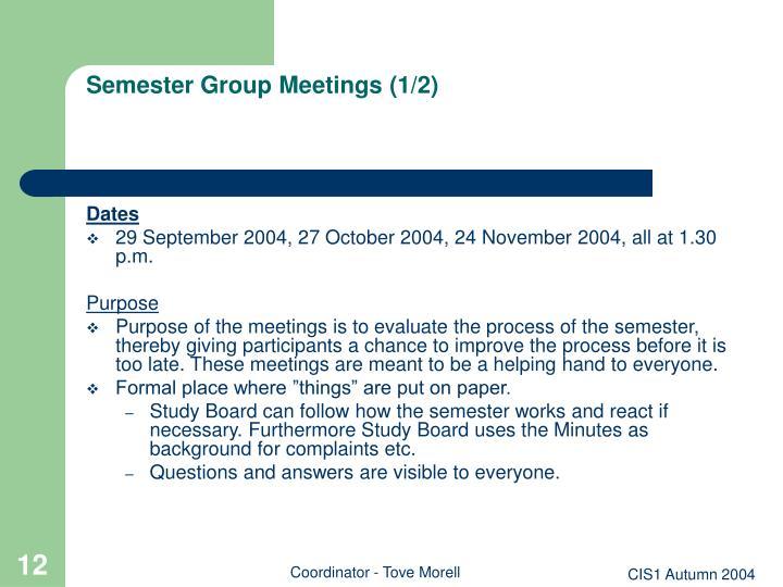 Semester Group Meetings (1/2)