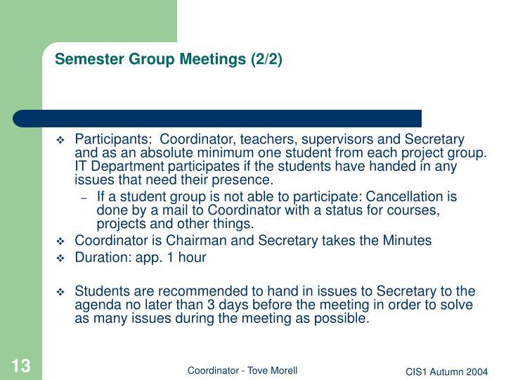 Semester Group Meetings (2/2)