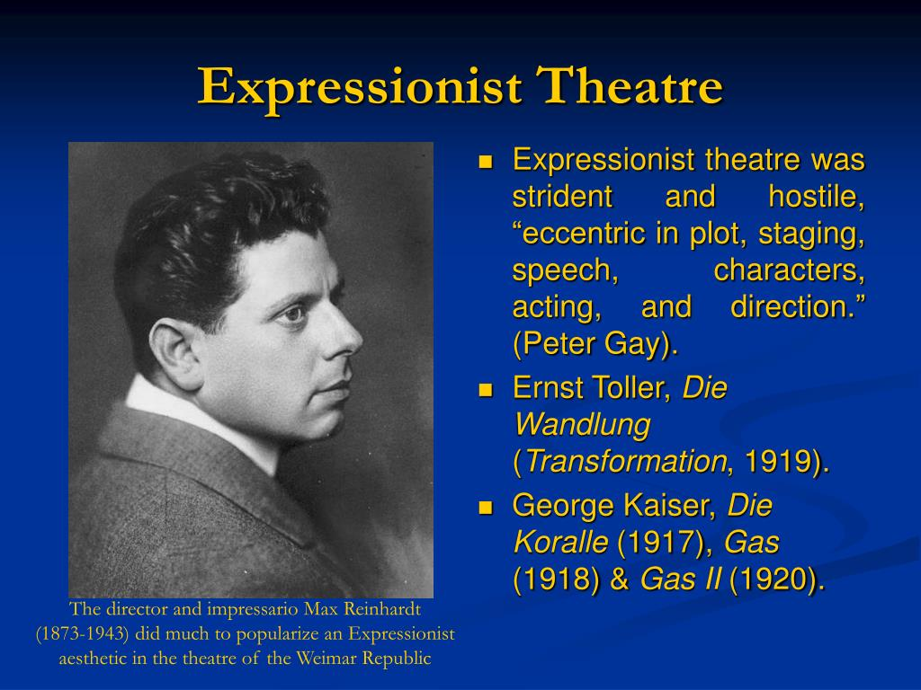 an analysis of expressionist theatre Expressionism 1 in the theatre expressionism 2 expressionism was a modernist movement, initially in poetry and painting, which originated in germany at the beginning of the 20th century its typical trait was to distort physical reality for emo.