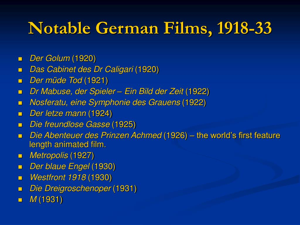 Notable German Films, 1918-33