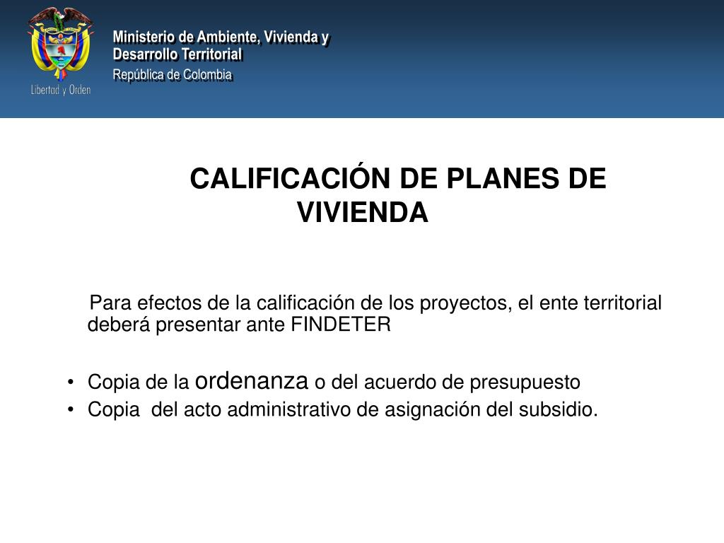 CALIFICACIÓN DE PLANES DE VIVIENDA