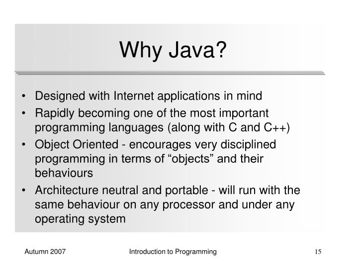 Why Java?