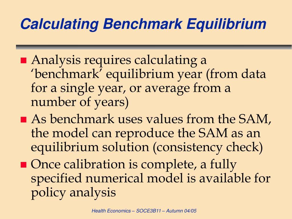 Calculating Benchmark Equilibrium