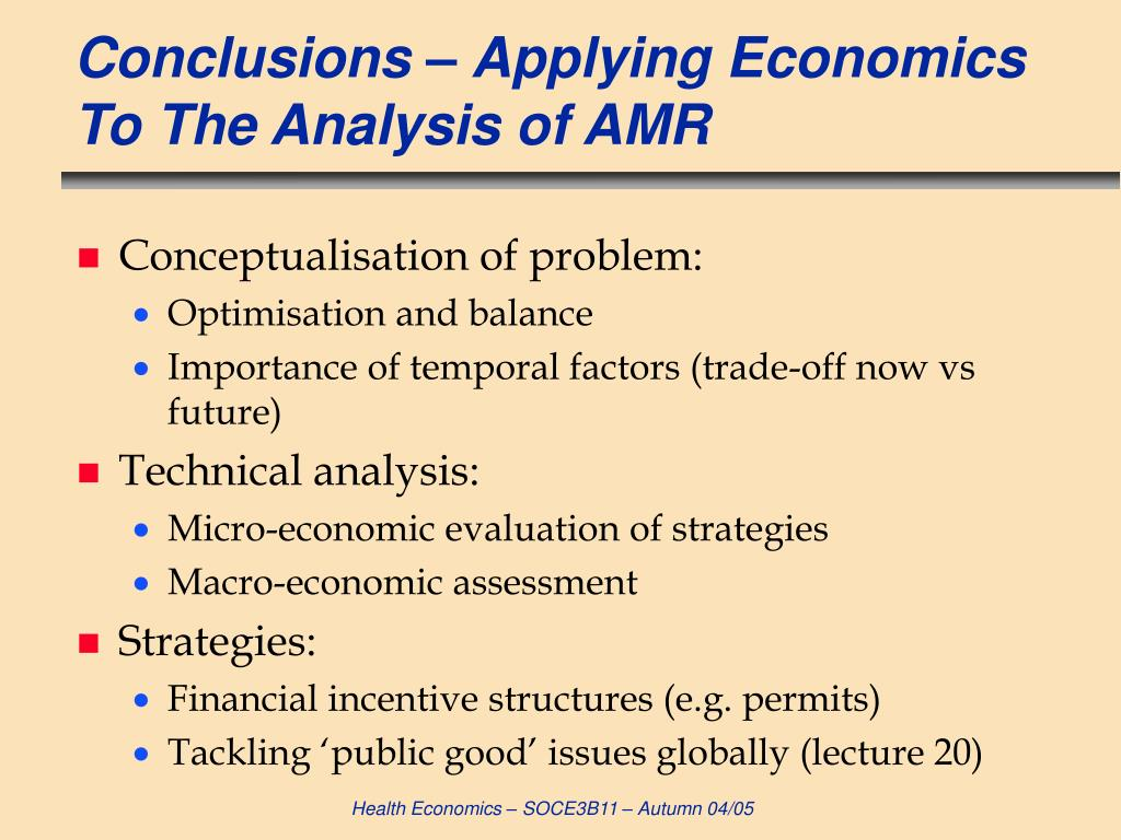 Conclusions – Applying Economics To The Analysis of AMR