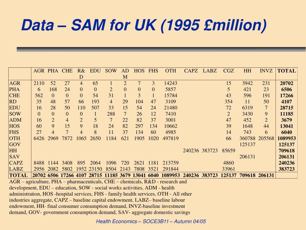 Data – SAM for UK (1995 £million)