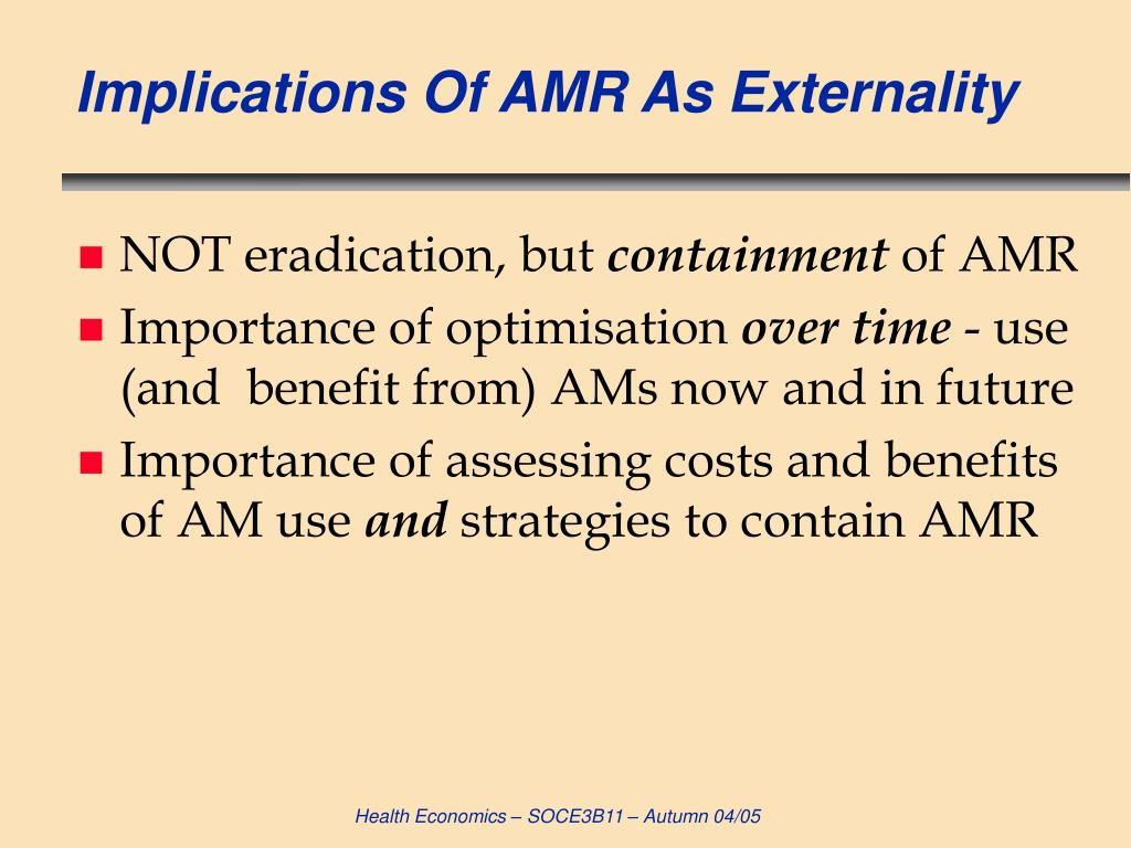 Implications Of AMR As Externality