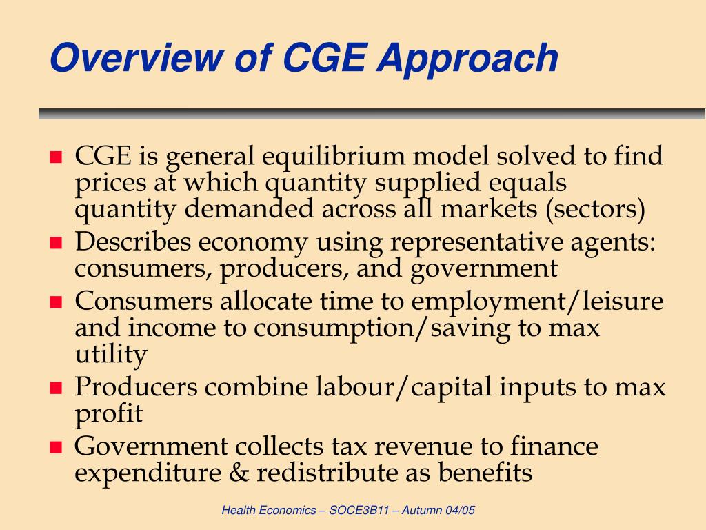 Overview of CGE Approach