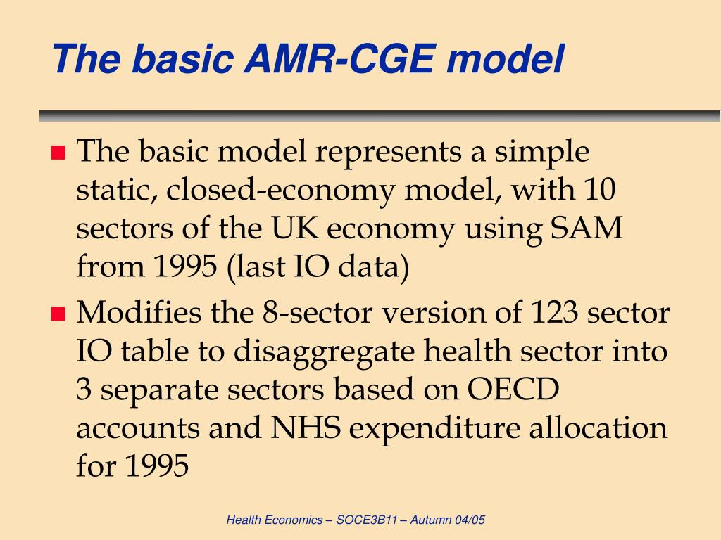 The basic AMR-CGE model
