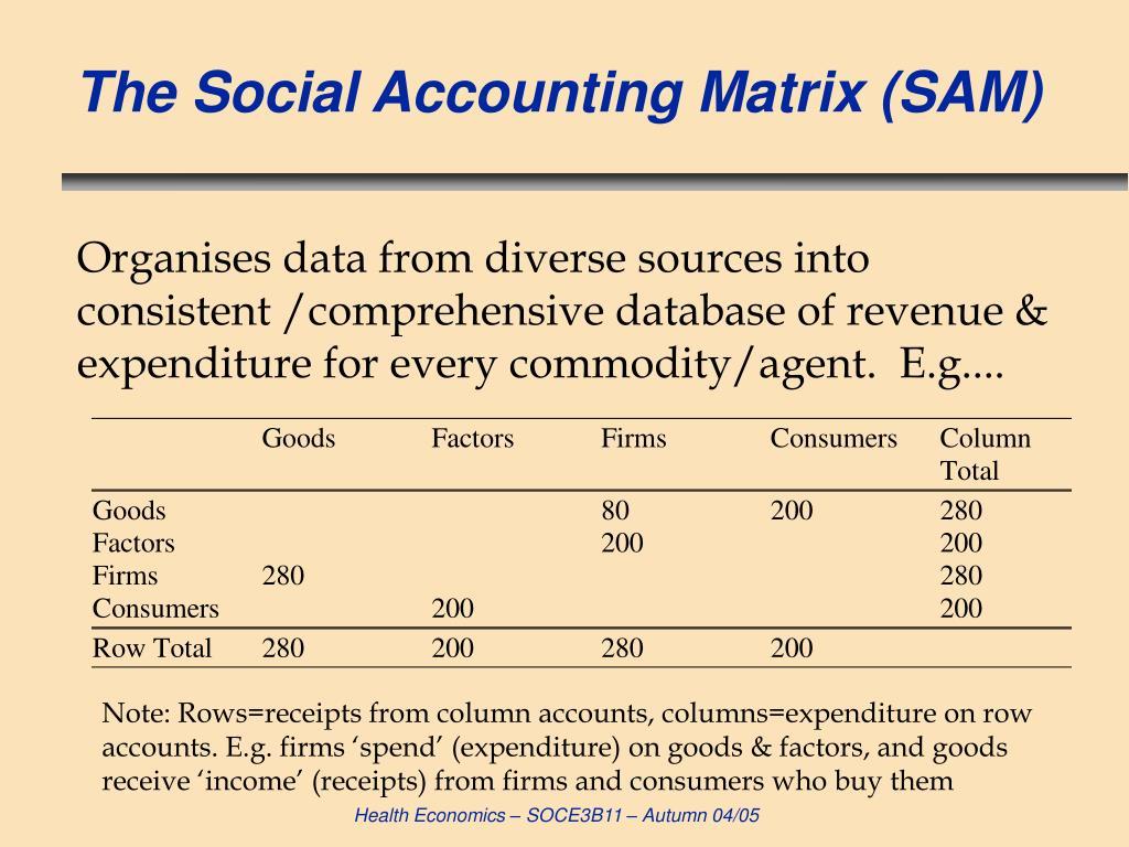 The Social Accounting Matrix (SAM)