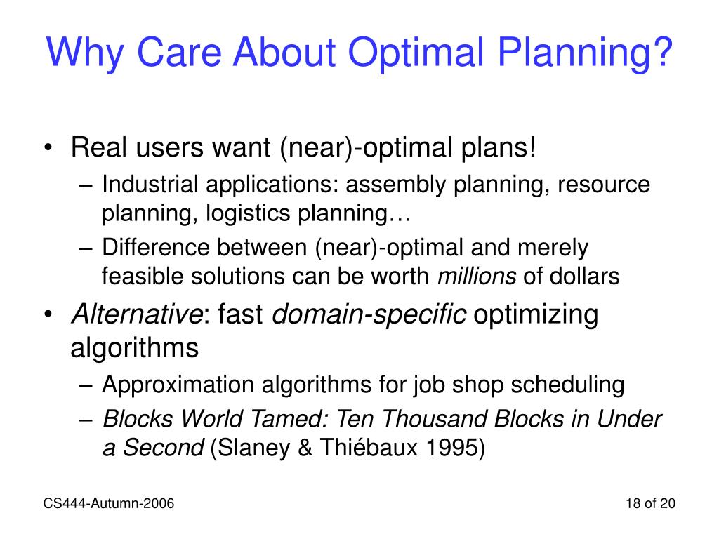 Why Care About Optimal Planning?