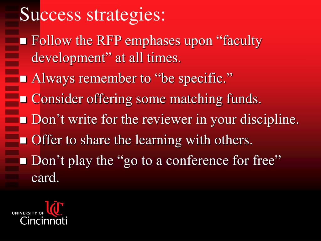 "Follow the RFP emphases upon ""faculty development"" at all times."