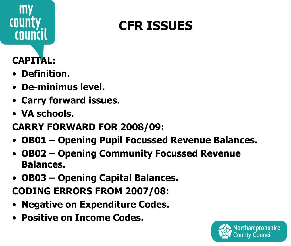 CFR ISSUES