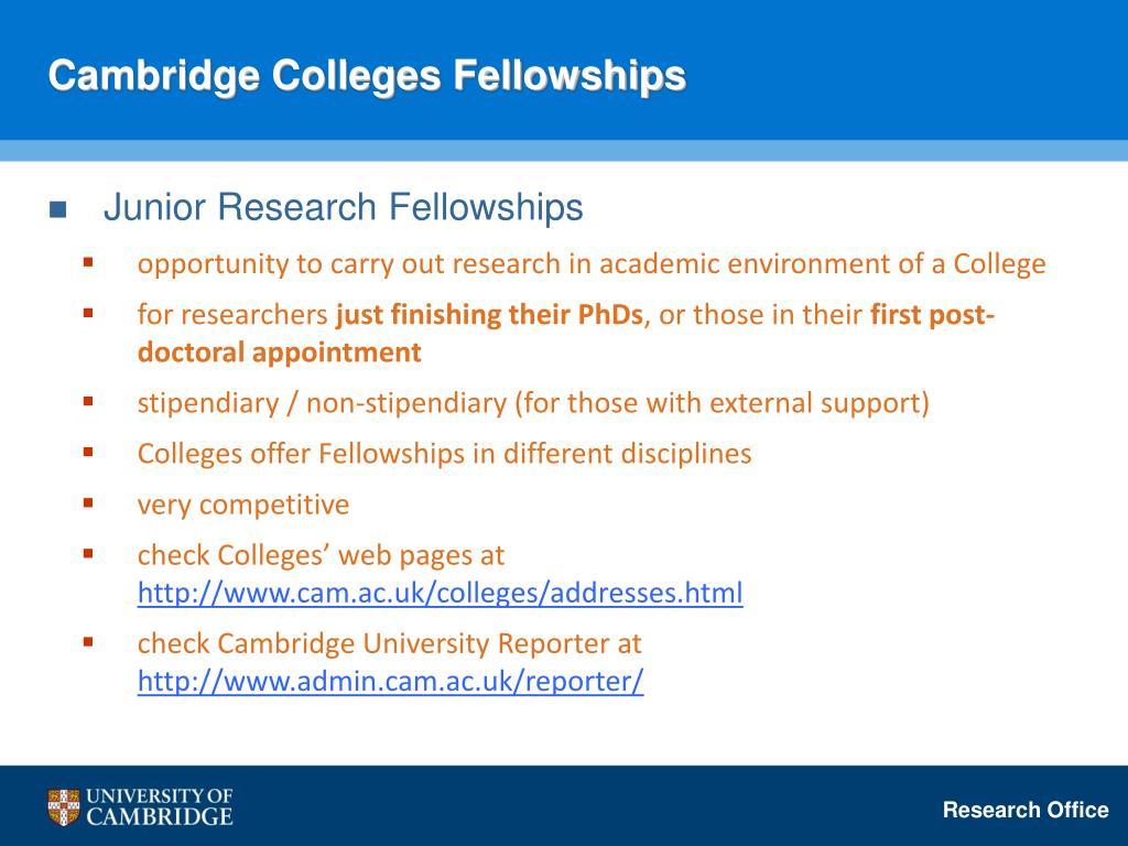 Cambridge Colleges Fellowships