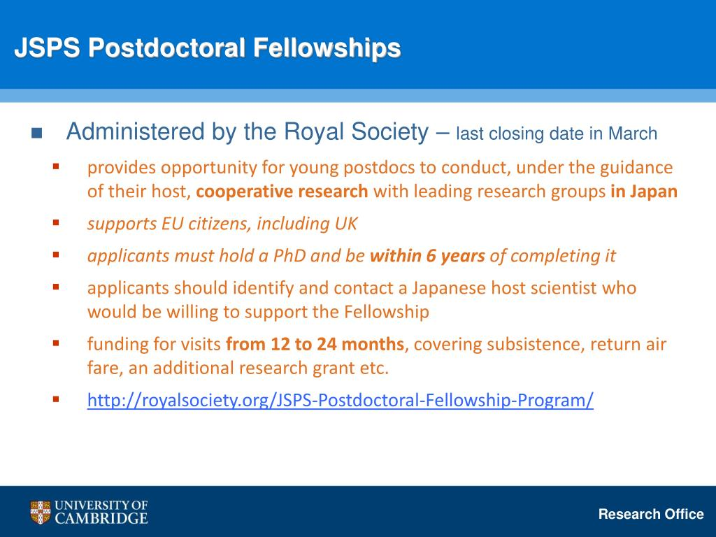 JSPS Postdoctoral Fellowships