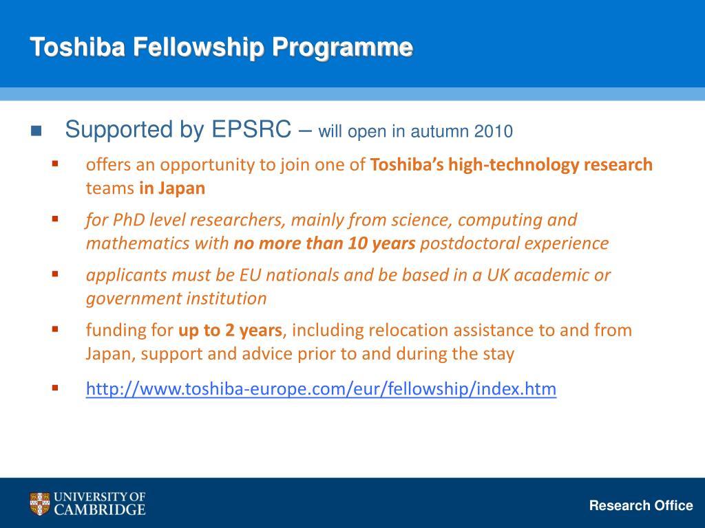 Toshiba Fellowship Programme