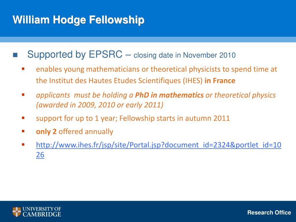 William Hodge Fellowship
