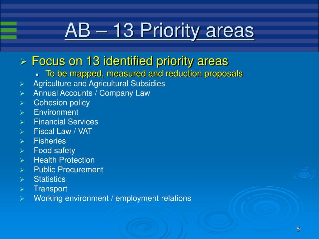 AB – 13 Priority areas
