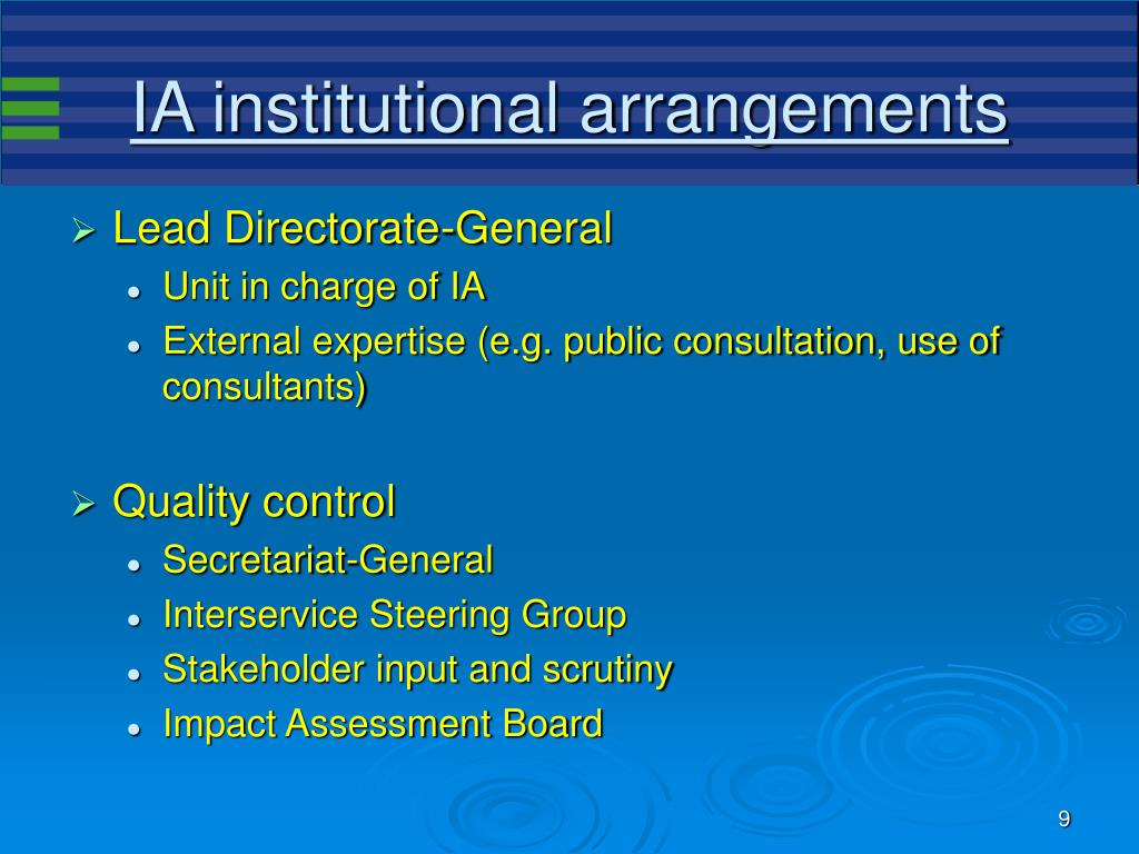 IA institutional arrangements