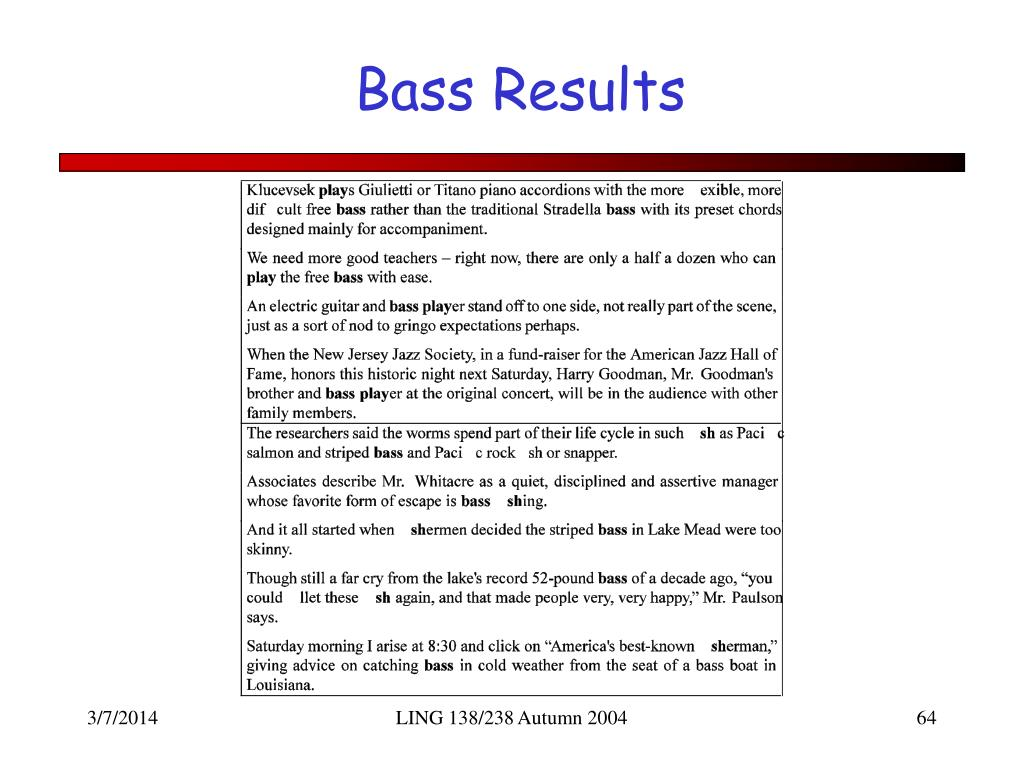 Bass Results
