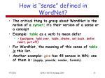 how is sense defined in wordnet