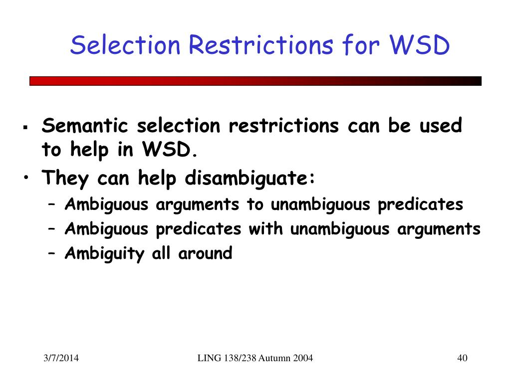 Selection Restrictions for WSD