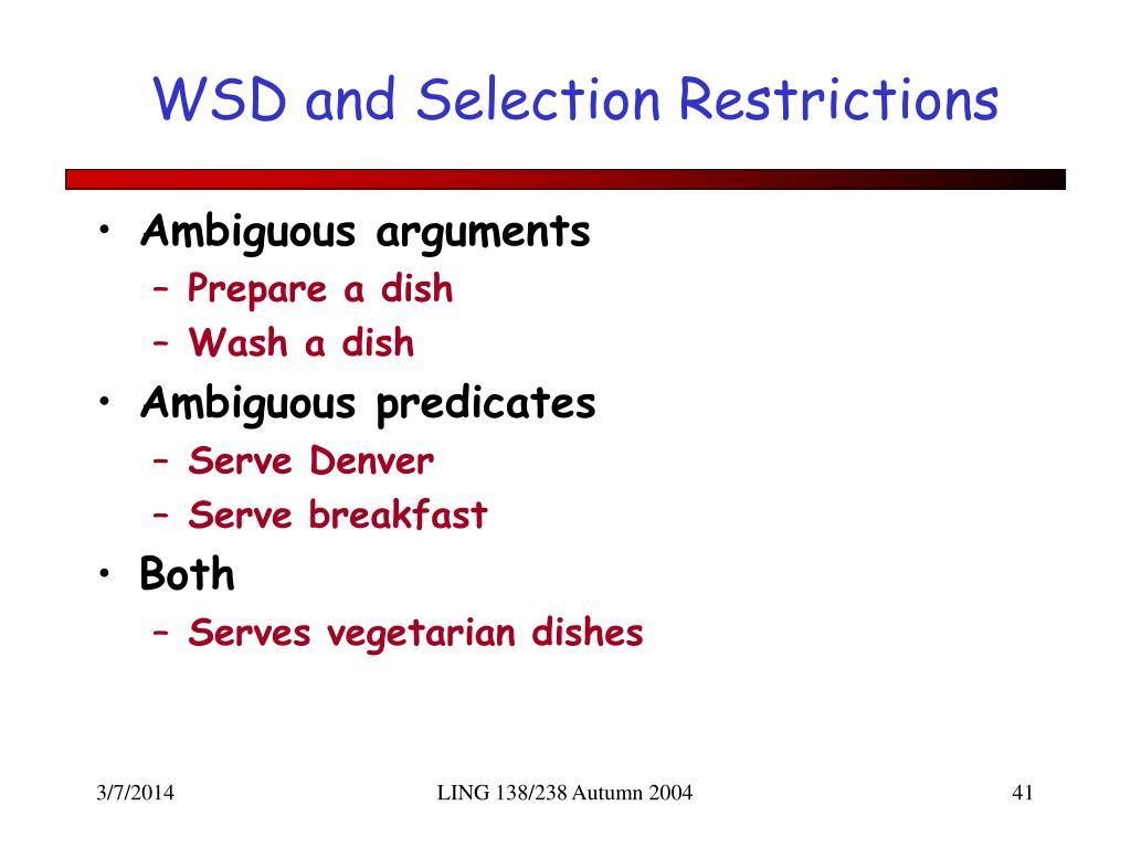 WSD and Selection Restrictions