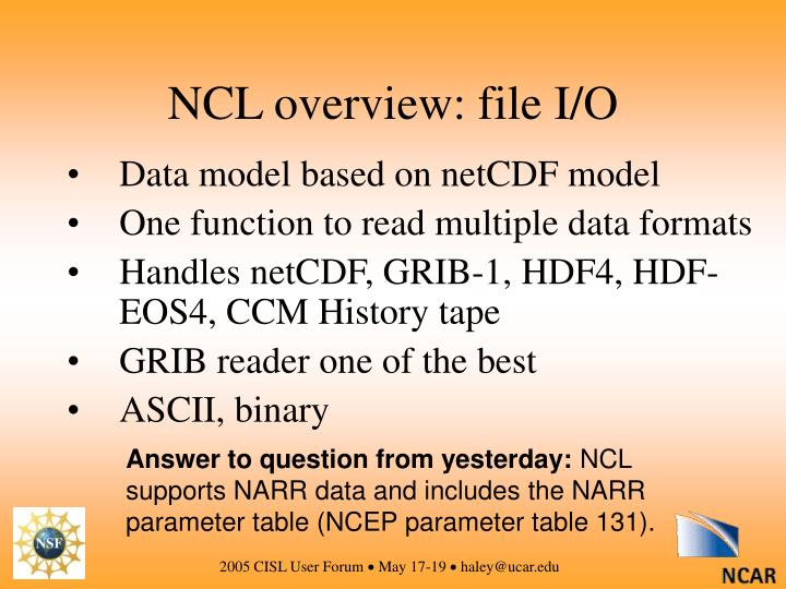 NCL overview: file I/O