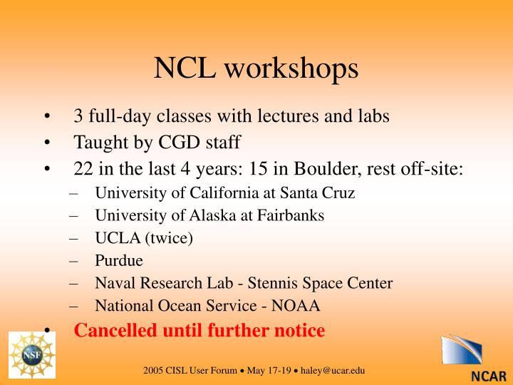 NCL workshops
