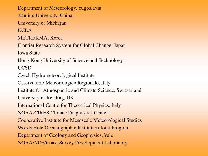 Department of Meteorology, Yugoslavia