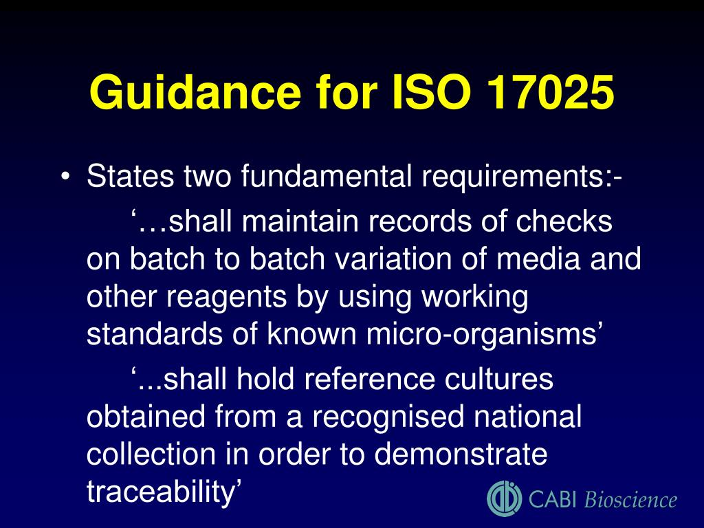 Guidance for ISO 17025