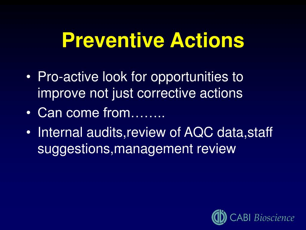Preventive Actions